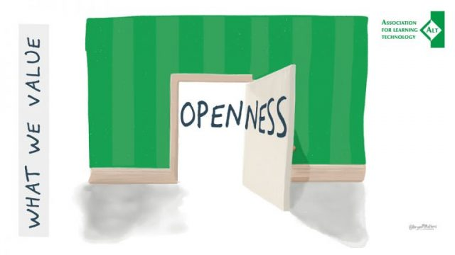 An open door and the word Openness, in ALT branding.
