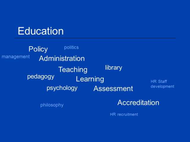 The range of activities related to education.