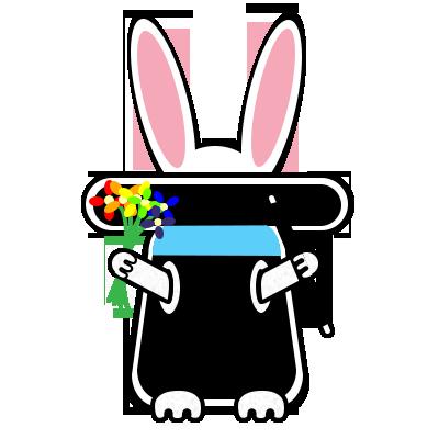 A cartoon rabbit in a hat.