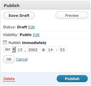 WordPress publication date option